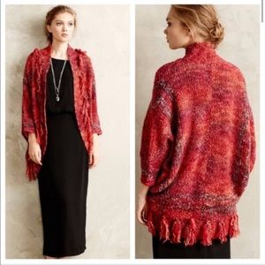 Anthropologie red Fringe Boucle Cacoon Cardigan S